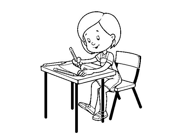 Dibujo de Niña en su pupitre para Colorear - Dibujos.net