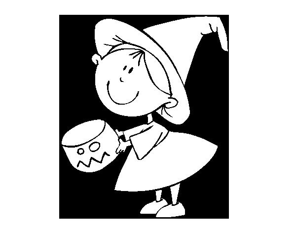 Dibujo de Niña pidiendo caramelos para Colorear - Dibujos.net