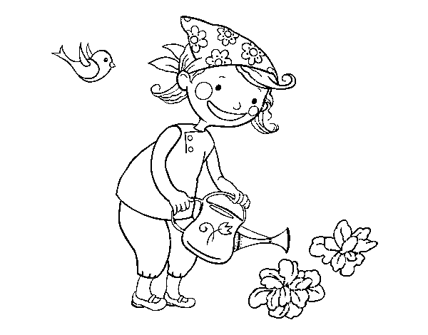 Dibujo de Niña regando para Colorear - Dibujos.net