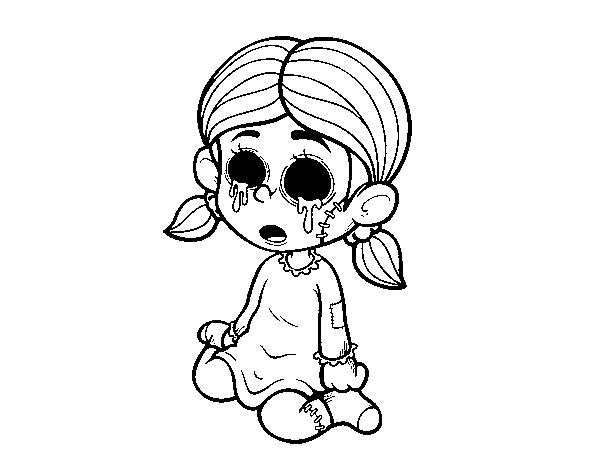 Dibujo De Niña Terrorífica Para Colorear Dibujosnet