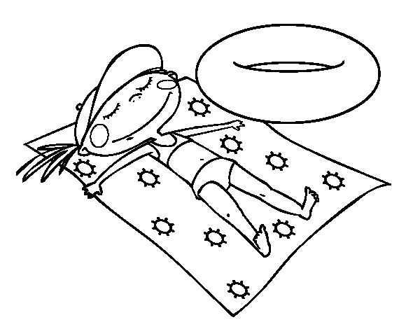 Dibujo de Niña tomando el sol para Colorear - Dibujos.net