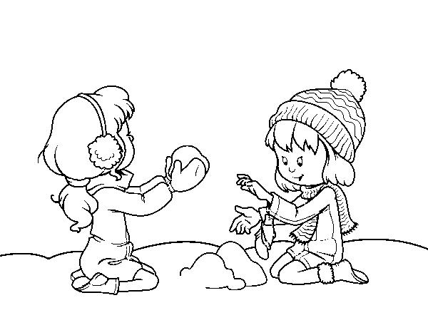Dibujo De Ninas Jugando Con La Nieve Para Colorear Dibujos Net