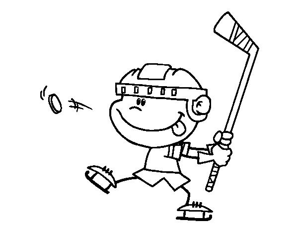 Dibujo de Niño aprendiendo a jugar a hockey para Colorear - Dibujos.net