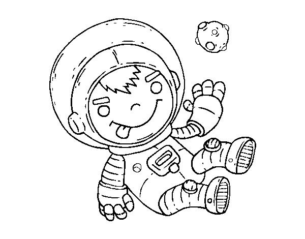 Dibujo de Niño astronauta para Colorear - Dibujos.net