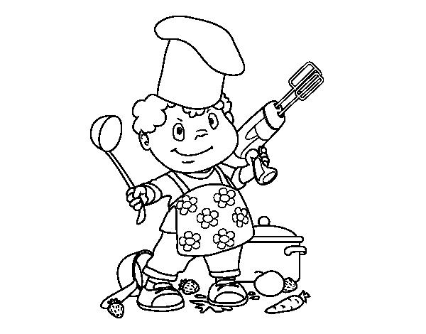 Dibujo de Niño cocinero para Colorear - Dibujos.net