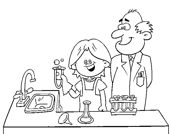 Dibujo de Niño con experimento para Colorear - Dibujos.net