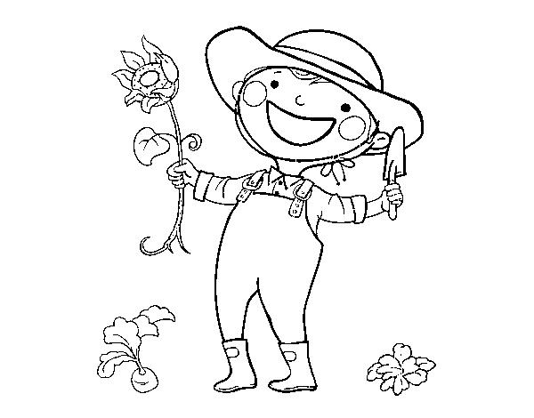 Dibujo de Niño con girasol para Colorear - Dibujos.net
