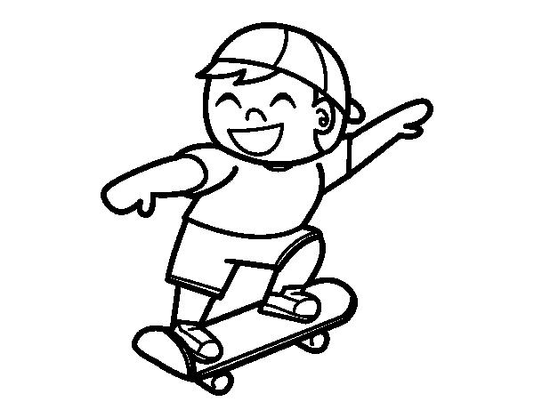Dibujo de Niño con monopatín para Colorear - Dibujos.net