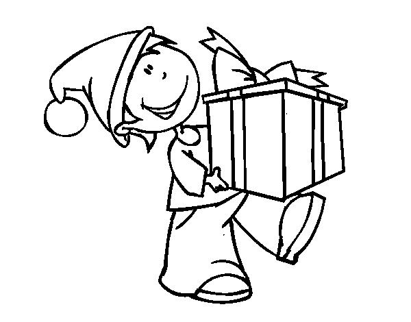 Dibujo de Niño con regalo para Colorear - Dibujos.net