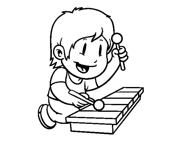Dibujo De Niño Con Xilófono Para Colorear Dibujosnet
