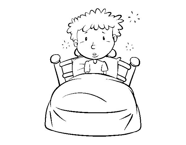Dibujo De Niño En La Cama Para Colorear Dibujosnet