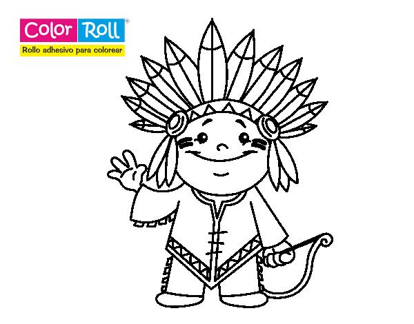 Dibujo de Niño indio Color Roll para Colorear - Dibujos.net