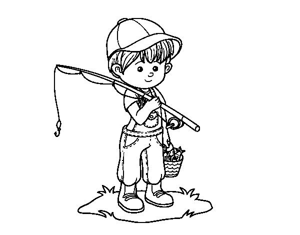 Dibujo de Niño pescador para Colorear - Dibujos.net