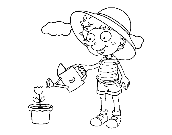 Niño Dibujo Para Colorear: Dibujo De Niño Regando Para Colorear