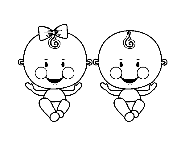 Dibujo de Niño y niña gemelos para Colorear - Dibujos.net
