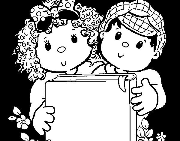 Dibujo de Niños con libros para Colorear - Dibujos.net