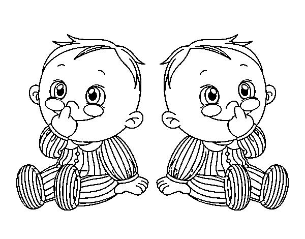 Dibujo de Niños gemelos para Colorear - Dibujos.net