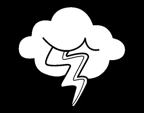 Dibujo de Nube con rayo para Colorear - Dibujos.net