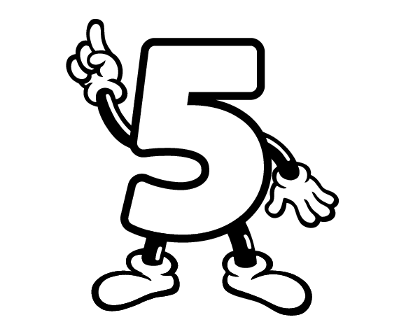 Dibujo De Número 5 Para Colorear Dibujosnet