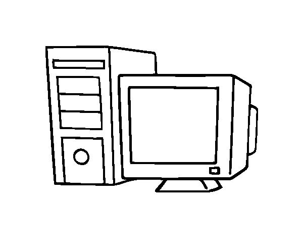 Dibujo de Ordenador antiguo para Colorear - Dibujos.net