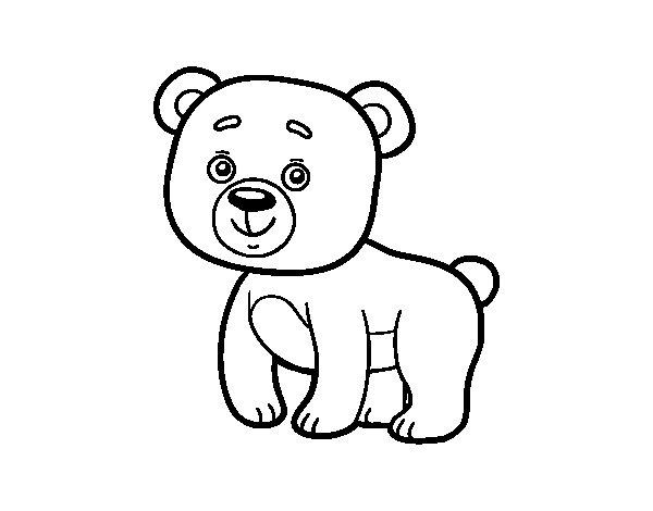 Dibujos De Animales Del Bosque Para Colorear: Dibujo De Osito De Bosque Para Colorear