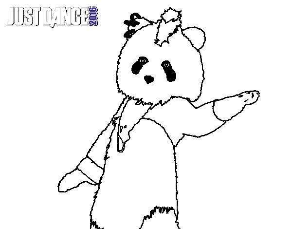 Dibujo de Oso Panda Just Dance para Colorear - Dibujos.net