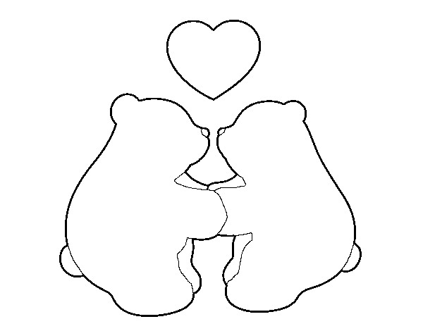 Dibujo de Osos polares enamorados para Colorear - Dibujos.net
