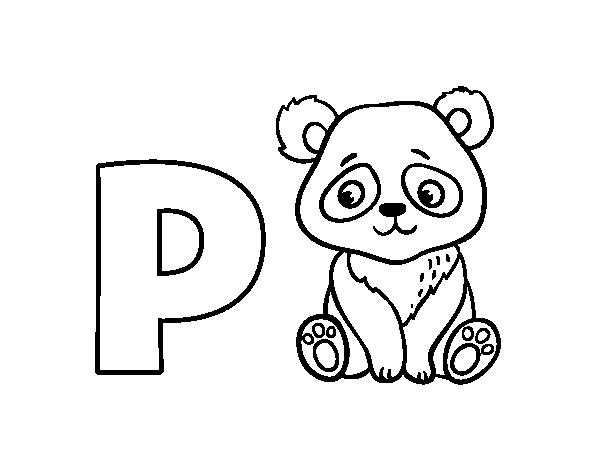 Dibujo De P De Panda Para Colorear Dibujosnet
