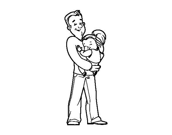 Dibujo De Padre E Hija Para Colorear Dibujosnet