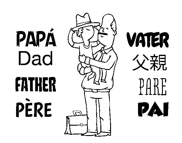 Dibujo De Padre E Hijo Con Sombrero Para Colorear Dibujosnet