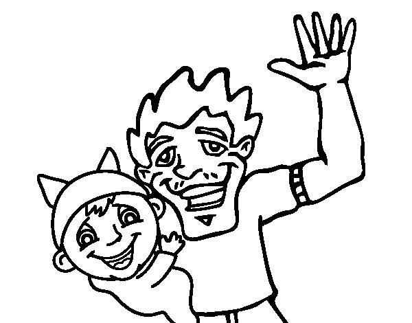 Dibujo De Padre E Hijo Saludando Para Colorear Dibujosnet