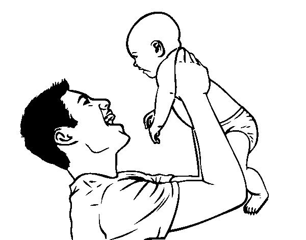 Dibujo De Padre Y Bebé Para Colorear Dibujosnet