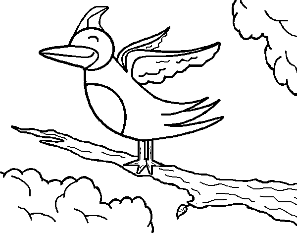 Dibujo de Pájaro en arbol para Colorear - Dibujos.net