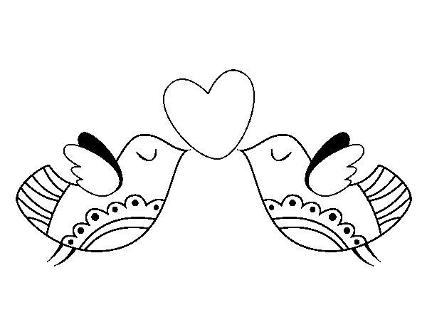 Dibujo de Pájaros con corazón para Colorear - Dibujos.net