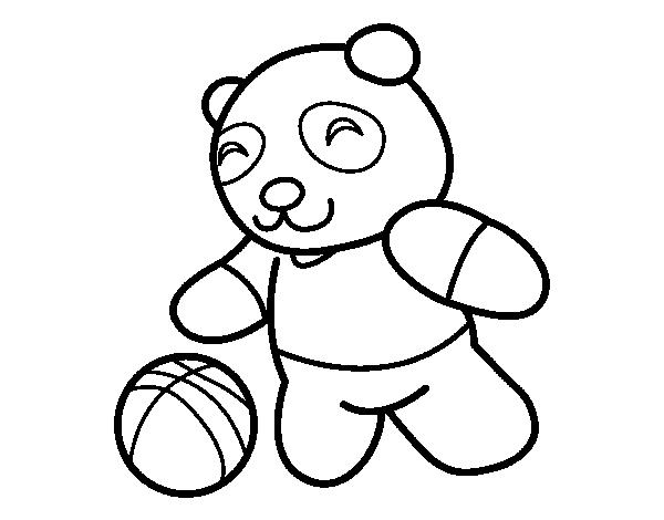 Dibujo de Panda con pelota para Colorear - Dibujos.net
