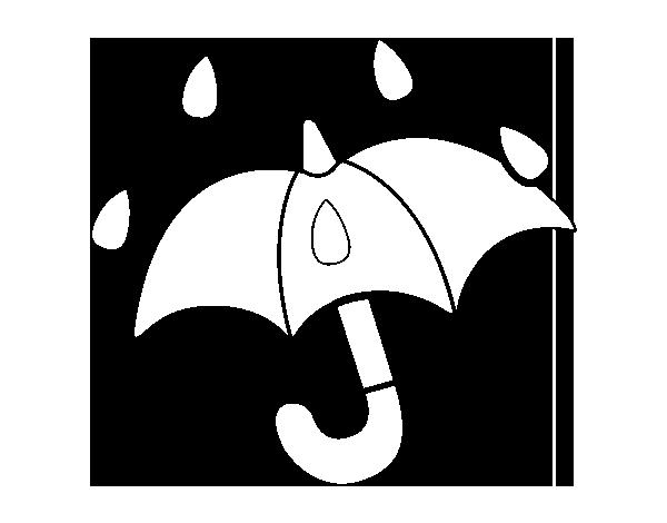 Dibujos De Paraguas Para Colorear E Imprimir: Dibujo De Paraguas Abierto Para Colorear