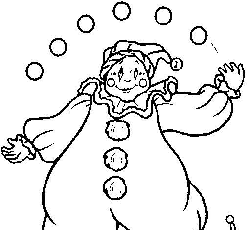 Dibujo de Payaso con bolas para Colorear - Dibujos.net