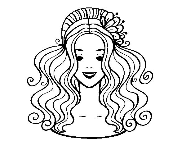Más cautivador dibujos de peinados Imagen de cortes de pelo tutoriales - Dibujo de Peinado recogido con flores para Colorear ...
