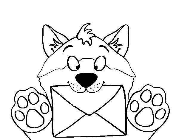 Dibujo de Perro con carta para Colorear - Dibujos.net