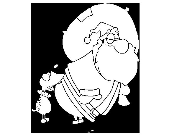 Dibujo de Perro mordiendo a Papa Noel para Colorear - Dibujos.net
