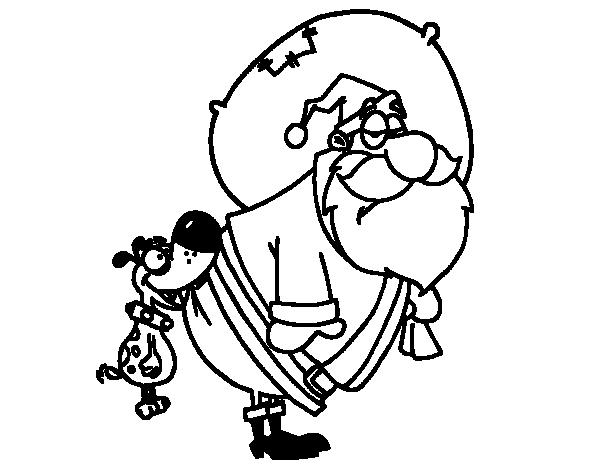 Dibujo De Perro Mordiendo A Papa Noel Para Colorear Dibujos Net
