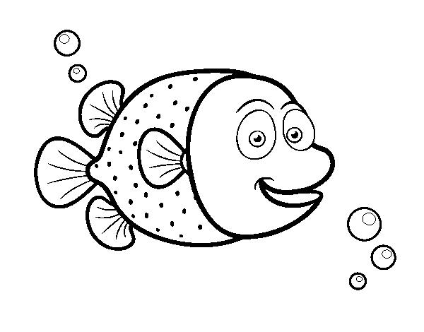 Dibujo de Pez globo de puntos blancos para Colorear - Dibujos.net