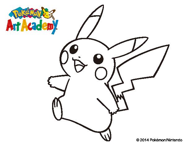 Dibujo de Pikachu en Pokémon Art Academy para Colorear - Dibujos.net