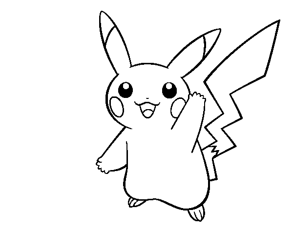 Dibujo de Pikachu saludando para Colorear - Dibujos.net