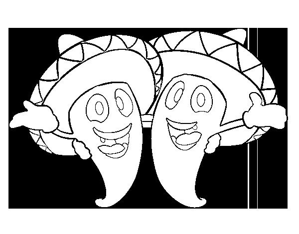 Dibujo De Pimientos Mexicanos Para Colorear Dibujosnet