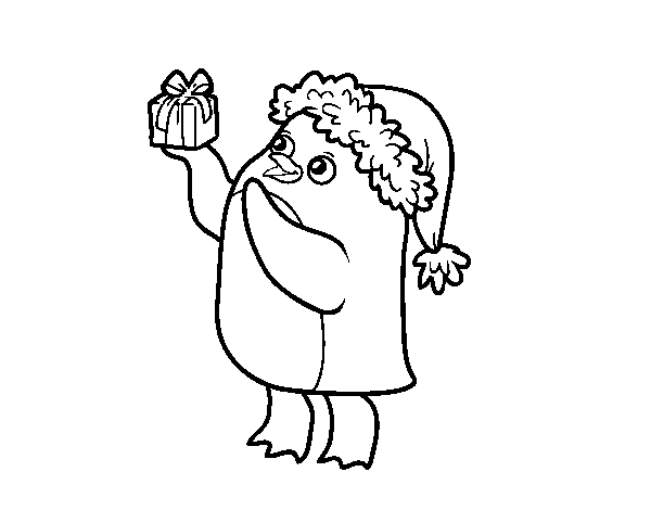 Dibujo de Pingüino con gorro y regalo de Navidad para Colorear ...