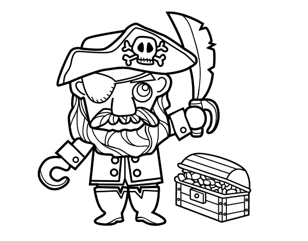 Dibujo de Pirata con tesoro para Colorear - Dibujos.net