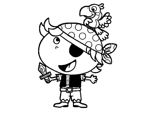 Dibujo de Pirata niño con loro para Colorear - Dibujos.net