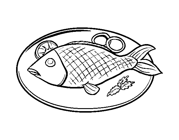Dibujo De Plato De Pescado Para Colorear Dibujosnet