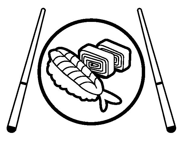 Dibujo De Plato De Sushi Para Colorear Dibujosnet